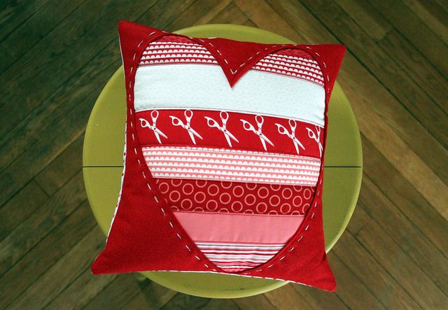 Quilted Heart Throw Pillow