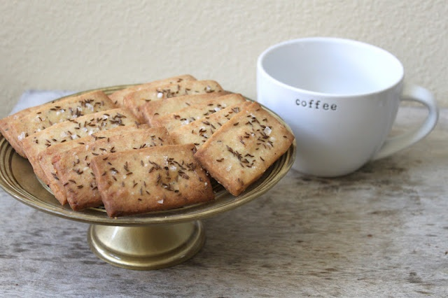 parmesan shortbread with caraway and sea salt. goes great with a cup ...