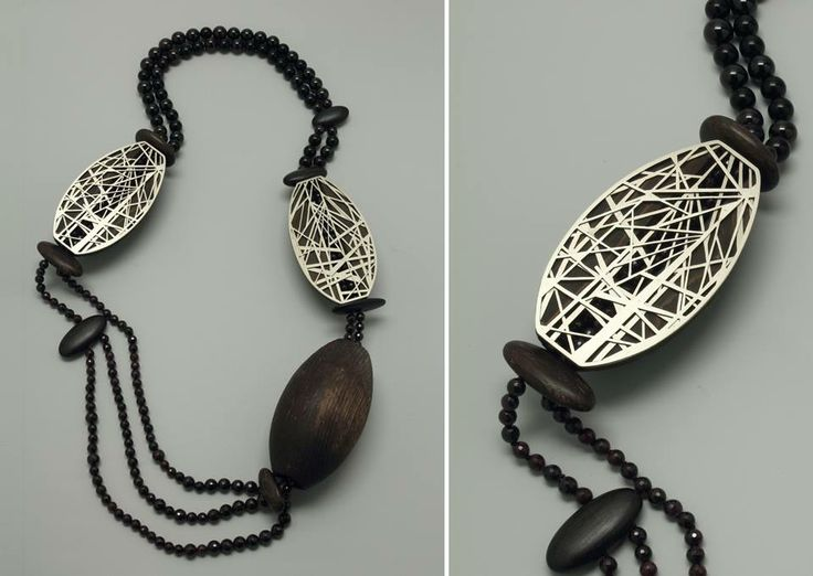 "Francis Willemstijn - Necklace ""Mastkraal"", 2014 - new silver, garnets, jet, pine, bog oak, brass"