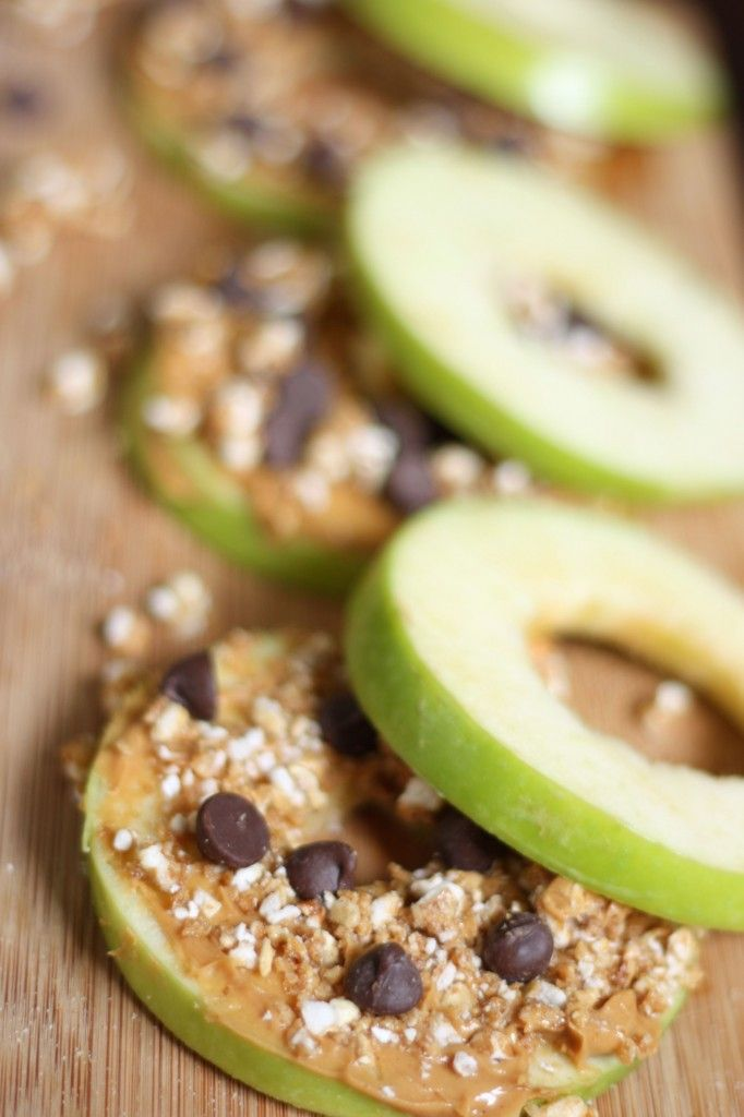 Apple Sandwiches. I live off these. I slap peanut butter and a few ...