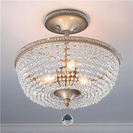Crystal Basket Semi Flush Ceiling Light: Powder room