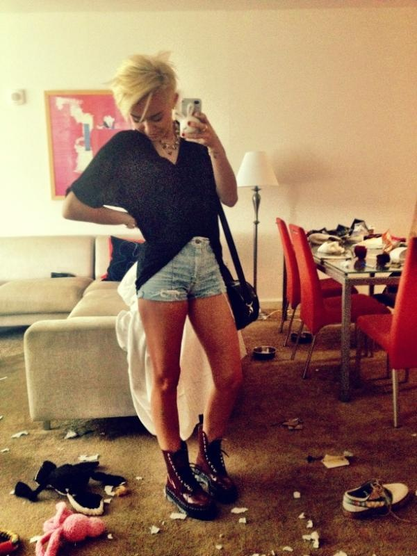 Dr. Marteens, high waisted denim shorts, bleach blond pixie. Amazing.