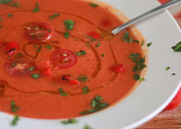 ... creamy soup, I am not a big fan of tomato soup so the roasted red