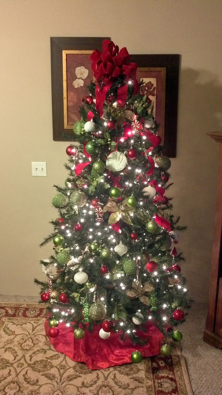 Lime Green Red And White Tree Christmas Decorations