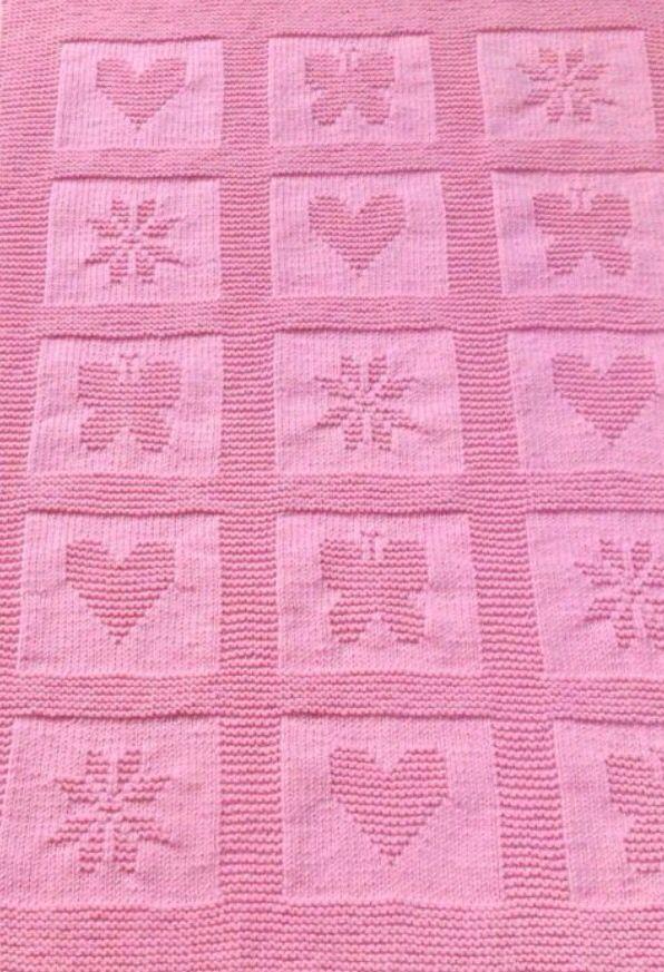 Плед с сердечками спицами теневое вязание 54