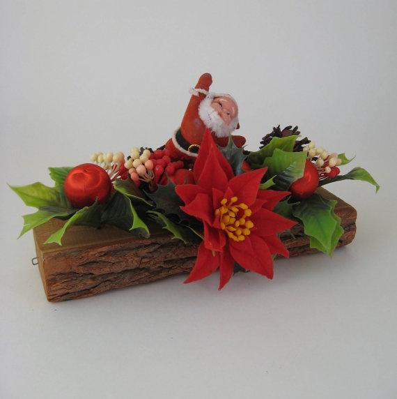 Vintage yule log santa centerpiece christmas