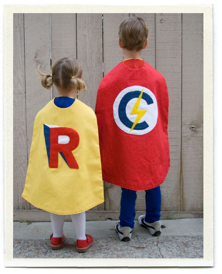 Diy fun super hero capes inchmark diy halloween for Funny homemade halloween costumes for kids