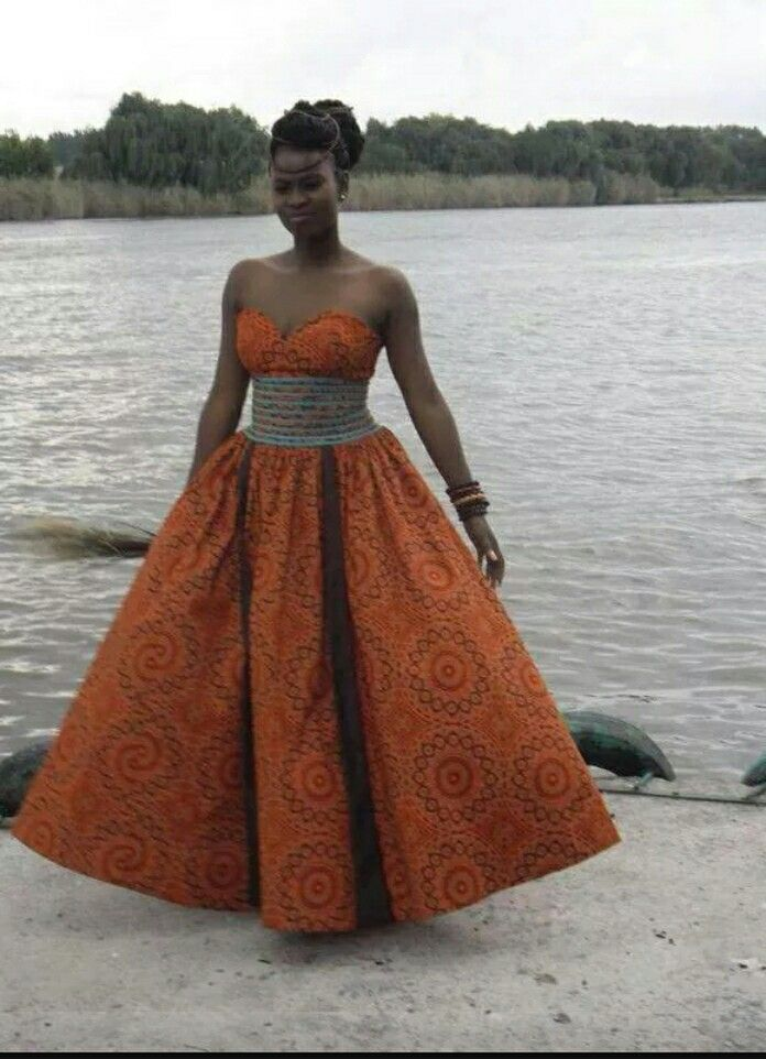 Shweshwe wedding gown for African traditional wedding dress styles