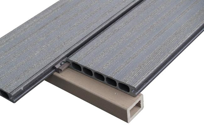 bois composite L4000mm + kit de montage, Lames de terrasse composite
