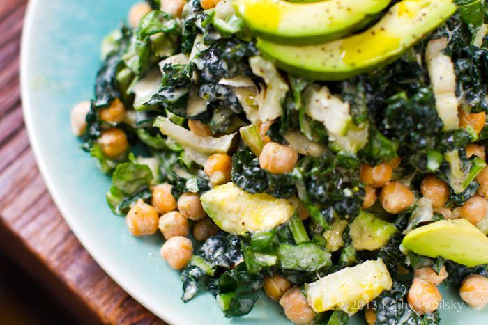 YUM!!!! Chickpea, Kale and Avocado with a little mandarin on the side ...