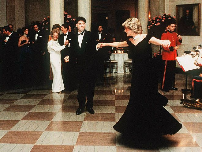 John Travolta, Princess Diana dancing during a visit to the White House in 1985