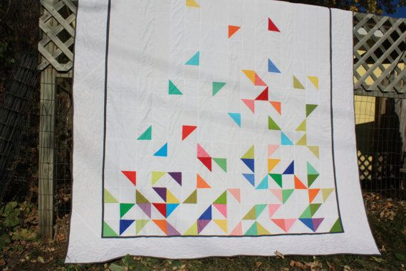 Queen size modern quilt falling half square by hubbahubbadingdong
