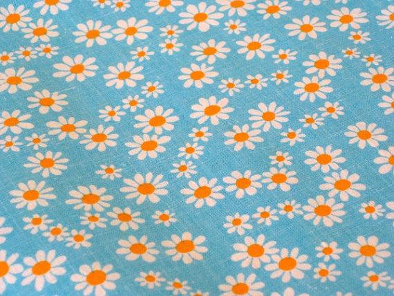 Vintage Fabric  Orange & White Daisies on Turquoise by NehiandZotz, $16.00