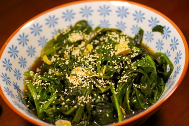 Spinach with Garlic, Soy, and Sesame | Food and Drinks | Pinterest