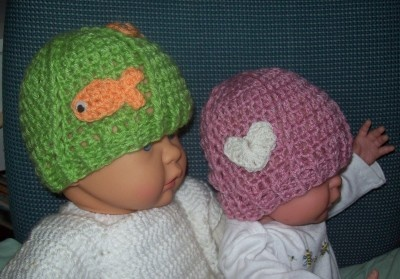 Cats-Rockin-Crochet Fibre Artist.: Crochet Baby Hats With Applique's