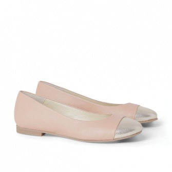 Nude and gold color leather ballet flats
