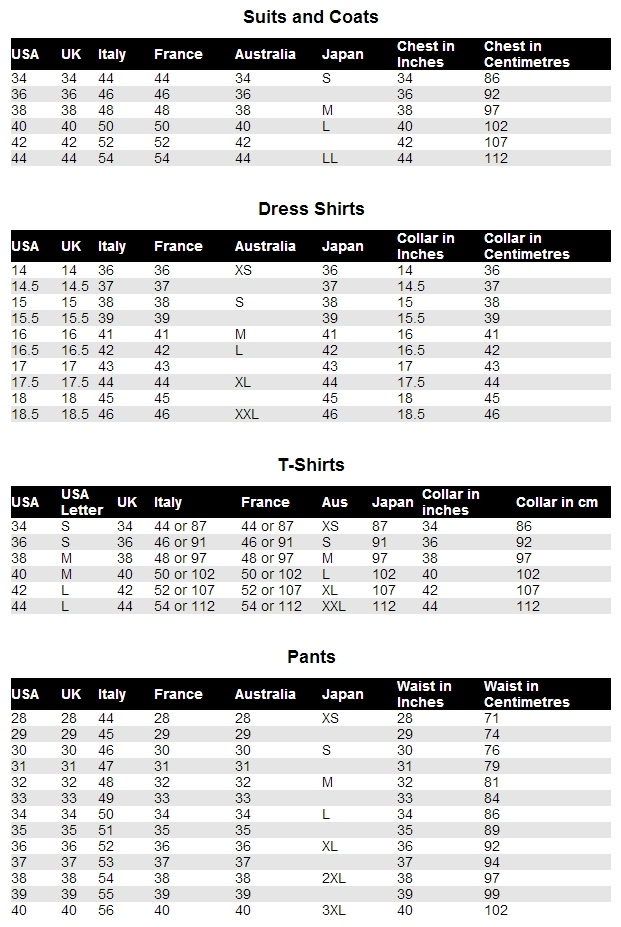 clothing size conversion style