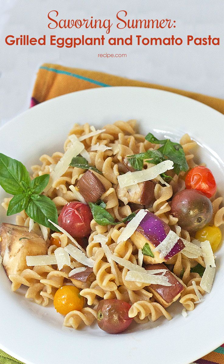 ... flavor into #eggplant and cherry tomatoes for this quick pasta dish