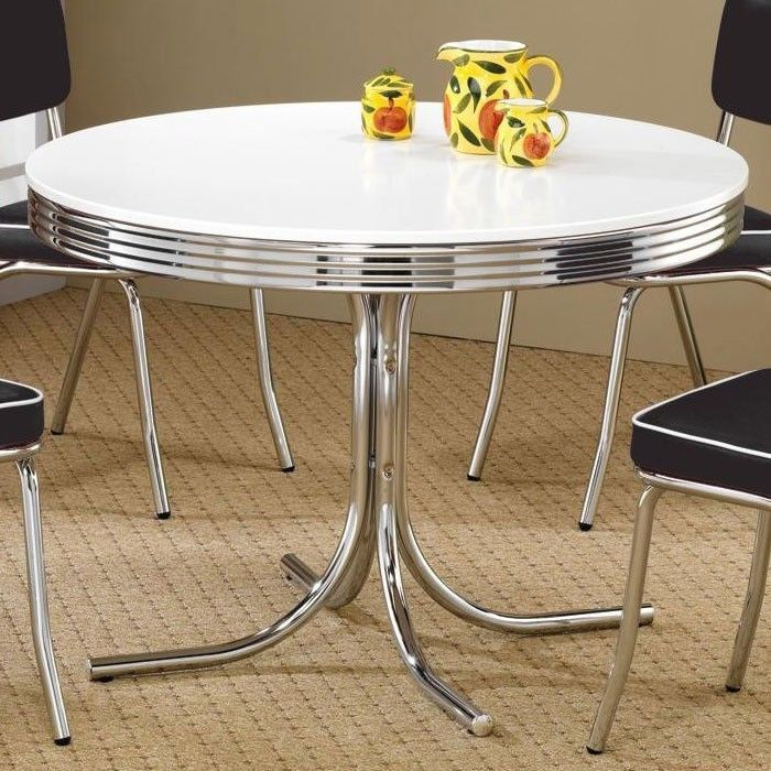 Retro kitchen dining 50 39 s diner table chrome round classic for Retro kitchen table
