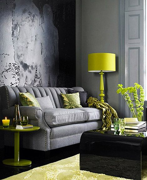 Combining Charcoal grey and lime green achieves a stunning effect, and is a very popular choice for this winter seasons décor. The use of blacks and greys gives this room a sophisticated feel, while the green of the accessories adds just a little funkiness.