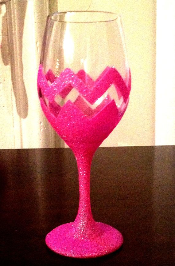 Hand painted glitter wine glass 1 glass How to make wine glasses sparkle