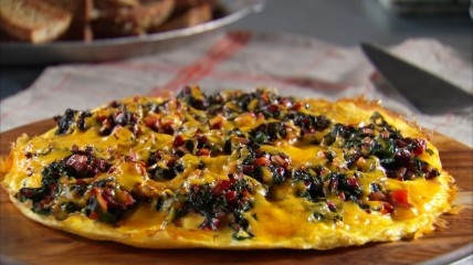 "eggs for dinner:: grande ""pizza"" omelet with Swiss chard, peppers a..."