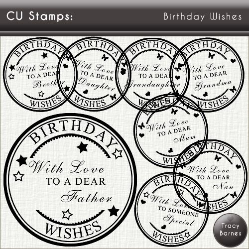 Crafty Card Making Instant Downloads - CU Stamps: Birthday Wishes ...