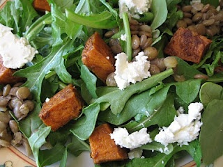 Arugula Salad with Lentils, Goat Cheese, and Spice-Roasted Yam ...