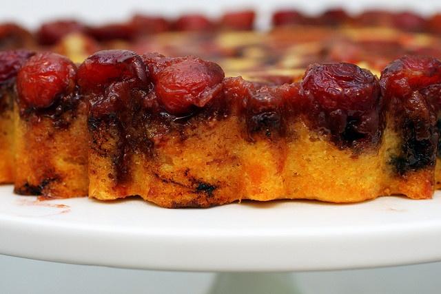cherry cornmeal upsidedown cake by smittenkitchen