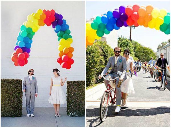 kreative Hochzeitsideen Rainbow Hochzeit Ballons