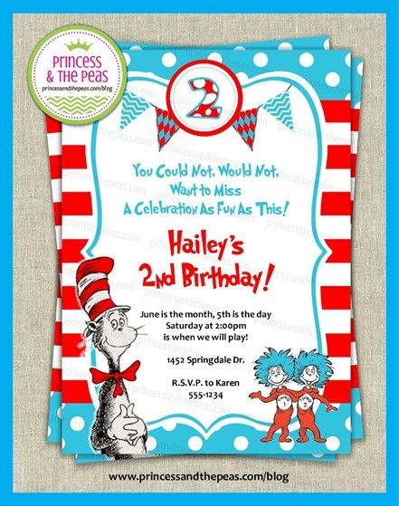 Dr. Seuss Birthday Party | Affordable Kids Birthday Party Ideas | Personalized Invitations | Easy Kids Parties | Kids Party Planning | Party Printables | Kids Parties On A Budget | Your Specialty Kids Party Blog