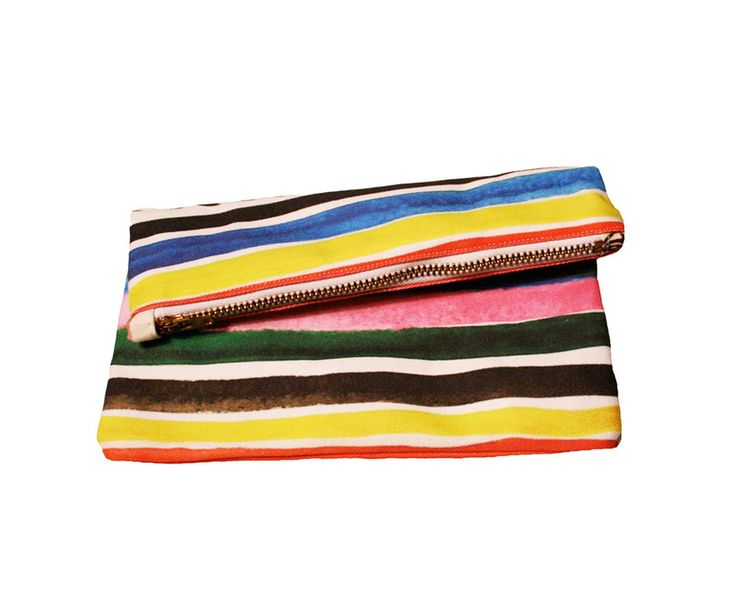 Kindah Khalidy // Ice Pop striped pattern printed on a clutch made out ...