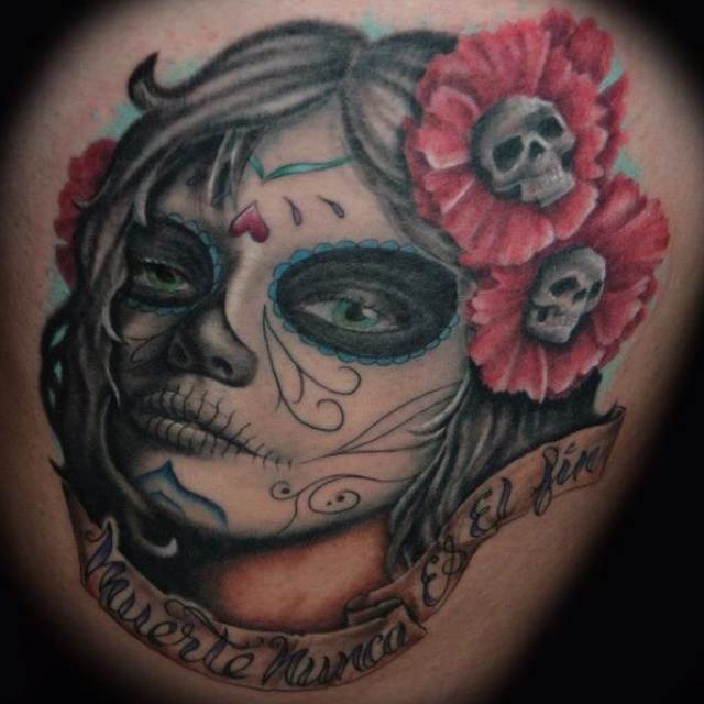 pin sugar skull pin up tattoo designs on pinterest. Black Bedroom Furniture Sets. Home Design Ideas