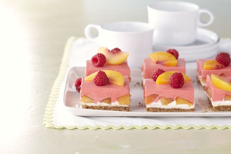 Raspberry-Peach Marshmallow Squares Recipe — Dishmaps
