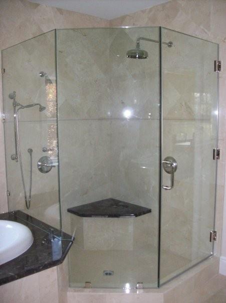 Dual Head Corner Shower With Bench Bathroom Pinterest