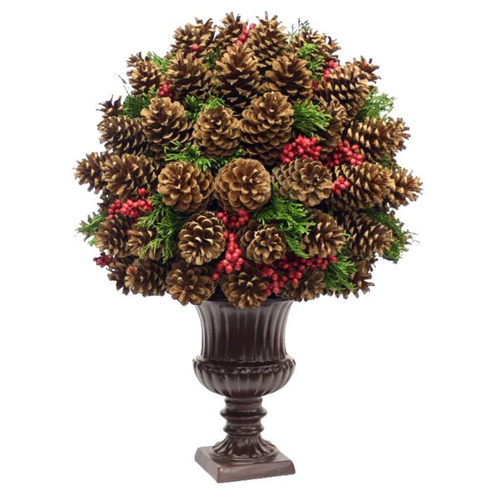 Topiary of pine cones pinecone acorn creations pinterest for Pinecone centerpieces