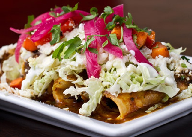 Chicken flautas with chipotle tomatillo sauce topped with pickled ...