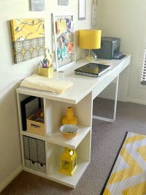 Studio Astratta: My Yellow  Grey Workspace Makeover! Micke desk from ikea. Use yellow accessories