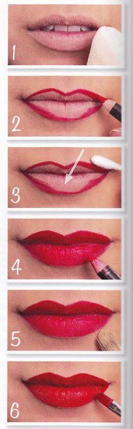 Why yes...the exact way I do my lips. Super long lasting.   Step 1 - Apply powder to the lips.  Step 2 - Outline.  Step 3 - fix any mistakes. Step 4 - Completely fill in lips with lip liner. Step 5 - Apply concealer around the lips for an extra 'pop' Step 6 - Apply the lipstick.  Viola!  Via Pin Up Passion (www.pinuppassion.com)