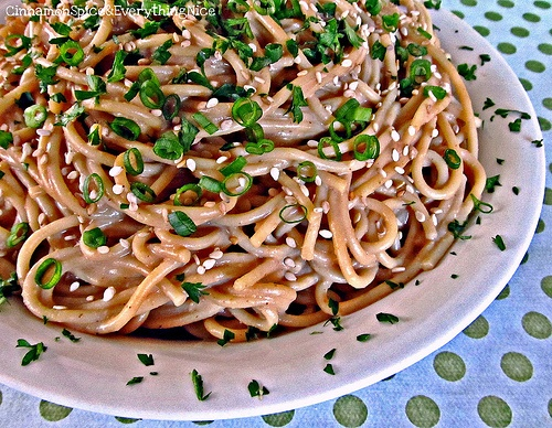 Peanut Butter Sesame Noodles (Love how the green circles on the ...