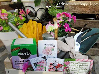 Things to include in this basket are:    Gardening Tools  Gloves  Seed Packets  Fertilizer  Watering Can  Hat  Sunscreen  Plants & Flowers  Pots and Plant Containers