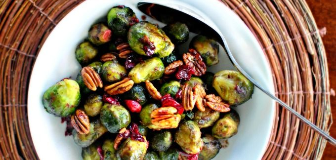 Roasted Brussels Sprouts with Cranberries and Pecans ~ Real Maple ...