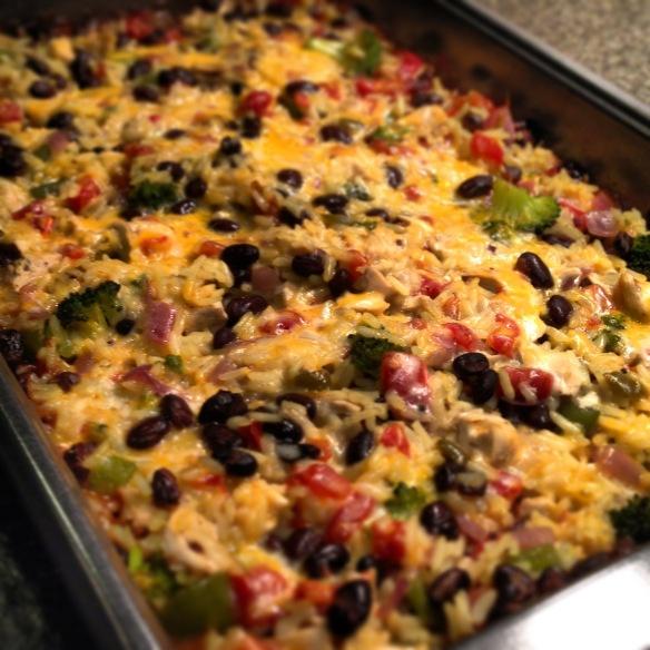 baked chicken, rice & black beans casserole