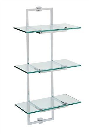 Glass bathroom shelving unit