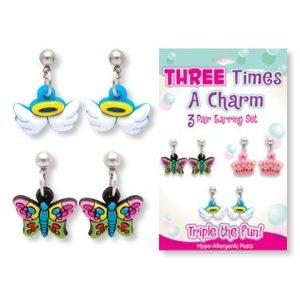 three times a charm 3 pair earring set kid s stuff