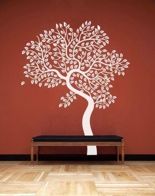 Vinyl Wall Decor Trees : Red vinyl wall art tree photo wallart