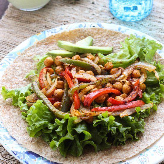 Roasted Chickpea Fajitas with Cilantro Cashew Crema- a healthy vegan ...