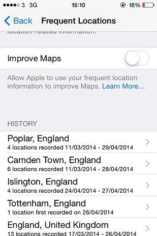 iphone location history delete