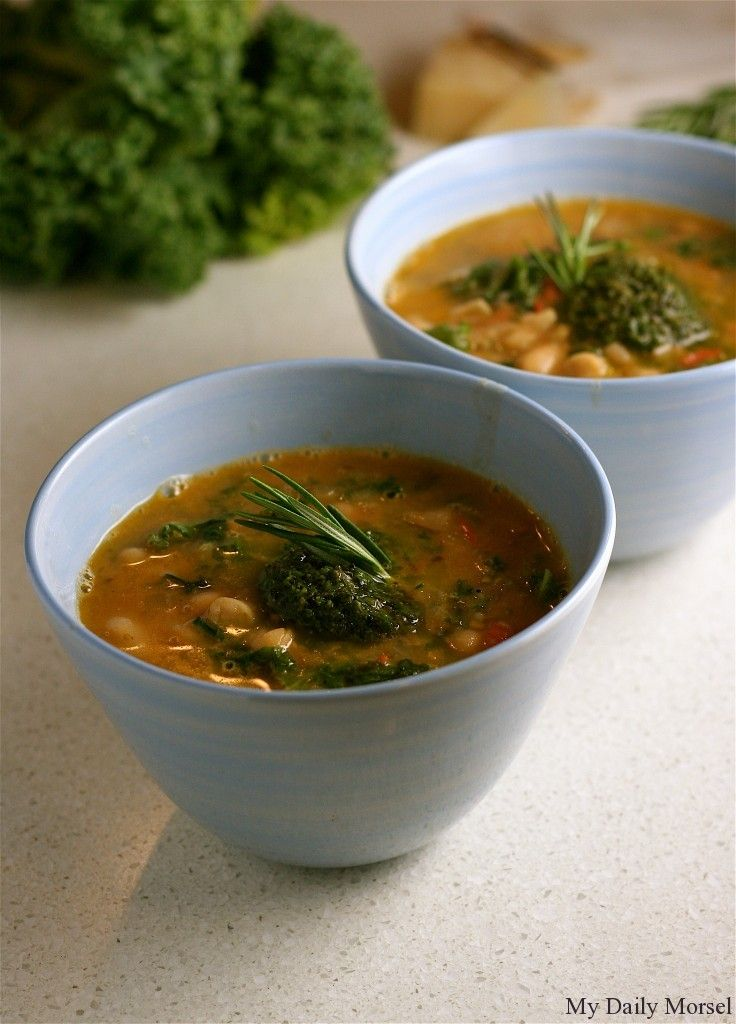 Cannellini Bean Soup with Parmesan and Kale