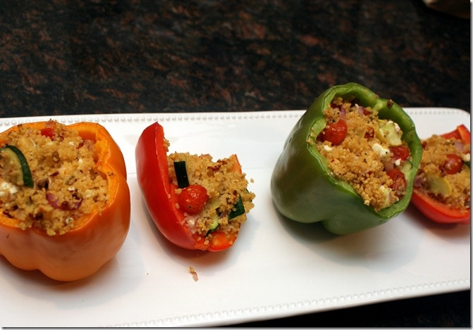 Couscous, tomato and feta stuffed peppers!